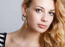 Beautiful lady on grey Stock Photography
