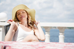 Beautiful lady in a hat Royalty Free Stock Photos