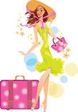 Beautiful lady in hat and suitcase Stock Image