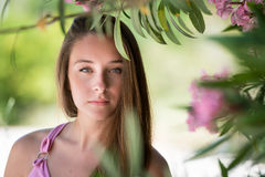 Beautiful lady in a headshot, smooth skin and beautiful features Royalty Free Stock Images