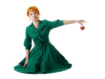 Beautiful lady holding an apple Royalty Free Stock Photo