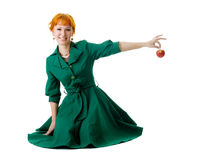 Beautiful lady holding an apple Royalty Free Stock Photos