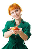 Beautiful lady holding an apple Stock Image
