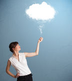 Beautiful lady holding cloud Stock Images