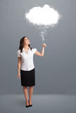 Beautiful lady holding cloud Stock Photography