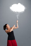 Beautiful lady holding cloud Royalty Free Stock Image