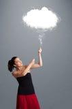 Beautiful lady holding cloud Royalty Free Stock Image