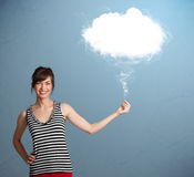 Beautiful lady holding cloud Royalty Free Stock Images