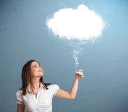 Beautiful lady holding cloud Royalty Free Stock Photo