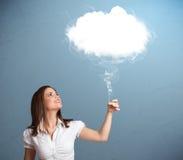 Beautiful lady holding cloud Royalty Free Stock Photo
