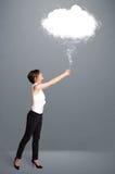 Beautiful lady holding cloud Stock Photography