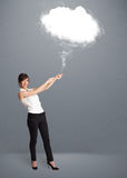Beautiful lady holding cloud Royalty Free Stock Photos