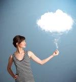 Beautiful lady holding cloud Stock Image