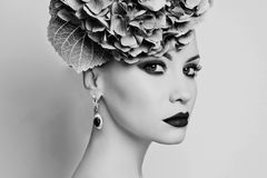 Beautiful lady with hydrangea Stock Image