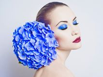 Beautiful lady with hydrangea Royalty Free Stock Photos