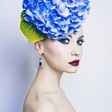 Beautiful lady with hydrangea Royalty Free Stock Images
