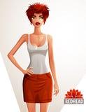 Beautiful lady illustration, full body portrait Royalty Free Stock Photo
