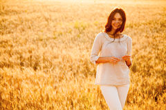 Beautiful Lady In Wheat Field Stock Photography