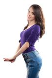 Beautiful lady in jeans Royalty Free Stock Images