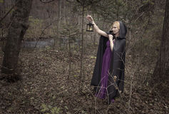Beautiful lady with lantern lost in the autumn forest Stock Photo
