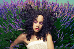 Beautiful lady in lavender. Beautiful sensual lady lying in fairy lavender flowers Royalty Free Stock Photo