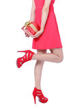 Beautiful lady Leg with christmas gift Royalty Free Stock Photo