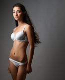 Beautiful lady in lingerie on gray background Royalty Free Stock Photos