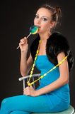 Beautiful lady with lollipop Stock Image