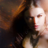 Beautiful lady with long brown hair. Portrait Stock Photos