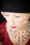 Beautiful lady looking down Royalty Free Stock Image
