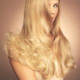 Beautiful lady with magnificent hair Royalty Free Stock Photos