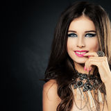 Beautiful Lady with Makeup and Jewelry Ring Royalty Free Stock Photo