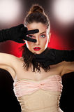 Beautiful  lady with makeup in studio Royalty Free Stock Photography