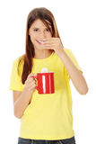 Beautiful lady is making tea Royalty Free Stock Photos