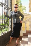 Beautiful Lady out door. Beautiful girl Show shopping 2017 fashion dress Royalty Free Stock Photos
