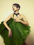 Beautiful lady with palm leaves stock photos