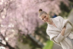 Beautiful Lady in the park in spring time Stock Images