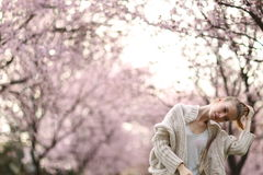 Beautiful Lady in the park in spring time Stock Photography