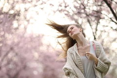Beautiful Lady in the park in spring time Royalty Free Stock Photography