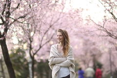 Beautiful Lady in the park in spring time Royalty Free Stock Photos