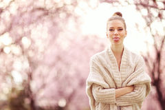 Beautiful Lady in the park in spring time Royalty Free Stock Photo