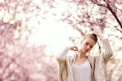 Beautiful Lady in the park in spring time Stock Image