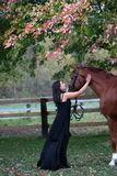 Beautiful lady patting her horse. A gorgeous image of a middle aged lady and her stunning chestnut horse under a maple tree in autumn Royalty Free Stock Images