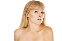 Beautiful lady with perfect skin, studio portrait Royalty Free Stock Images