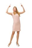 Beautiful lady in pink dress isolated on the white Stock Photography