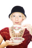 Beautiful lady portrait drinking tea Royalty Free Stock Photography