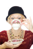 Beautiful lady portrait drinking tea Royalty Free Stock Photo