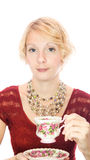 Beautiful lady portrait drinking tea Royalty Free Stock Images