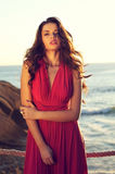 Beautiful lady. Portrait of young beautiful lady with long hair in pink evening dress Royalty Free Stock Photo