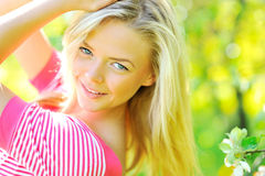 Beautiful lady posing outdoors. Closeup portrait stock photography